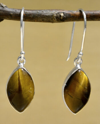 tigerseye and sterling silver marquise drop earrings