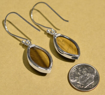 back of tigerseye and sterling silver marquise drop earrings with dime