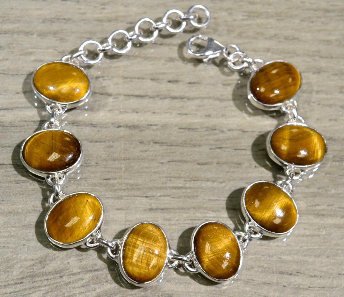 handmade tiger's eye and sterling silver bracelet