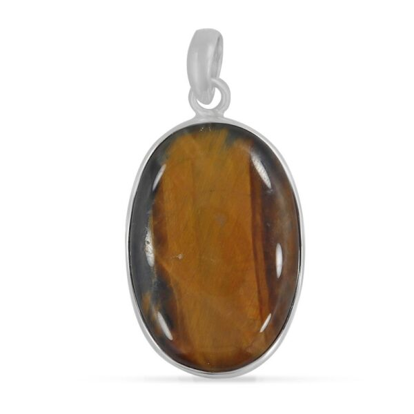 brown tiger's eye gemstone and sterling silver handmade oval pendant