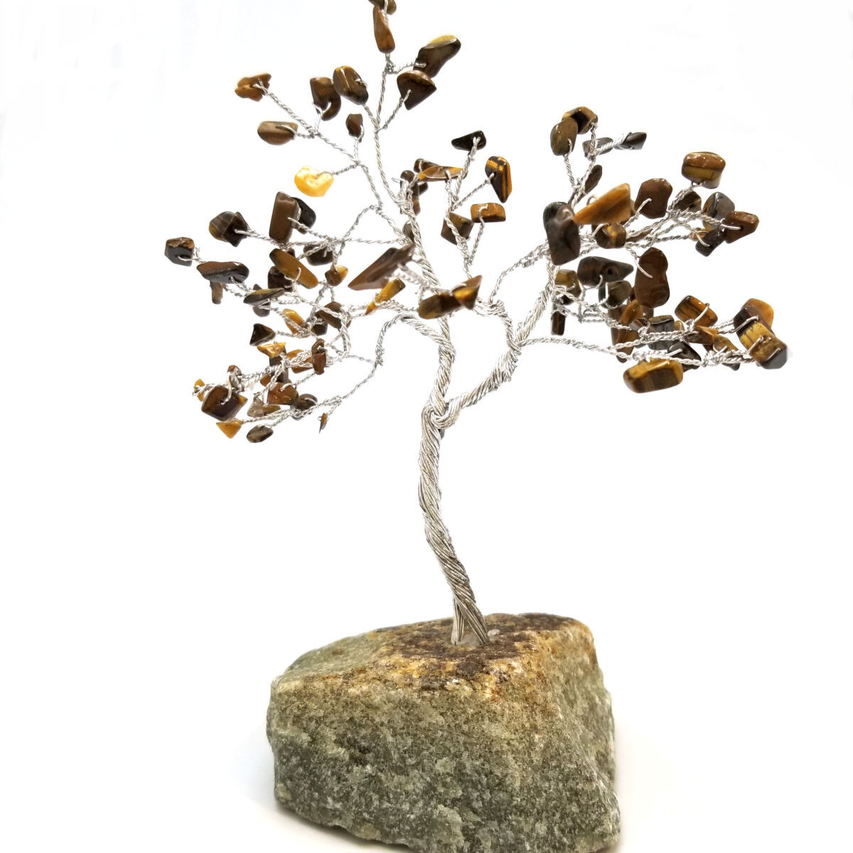 gemstone tree sculpture with brown tiger's eye leaves