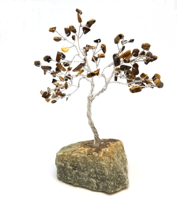 gemstone tree sculpture with brown tiger's eye leaves