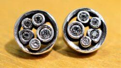 Patricia Locke Tiny Bubbles silvertone stud earrings in All Crystal