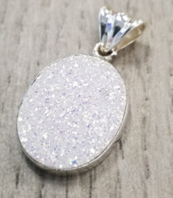 titanium coated white druzy and sterling silver pendant