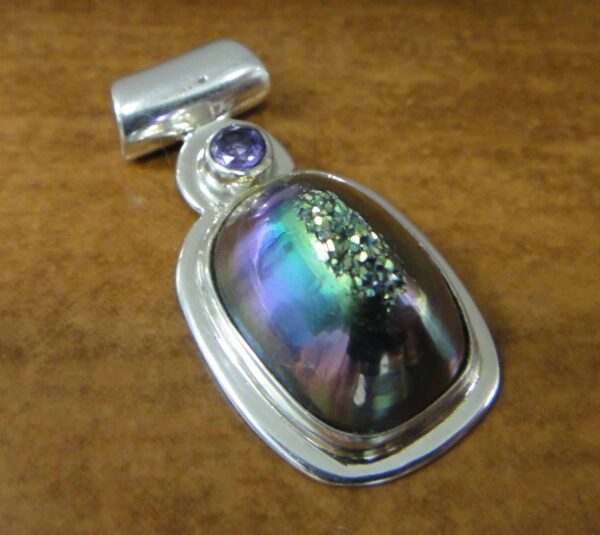titanium coated druzy with amethyst pendant