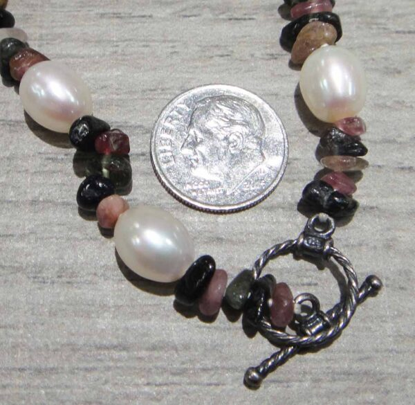 Handmade tourmaline stone chip and pearl necklace clasp