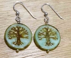 Handmade Czech glass and sterling silver tree earrings