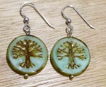 Handmade Czech glass and sterling silver tree earrings