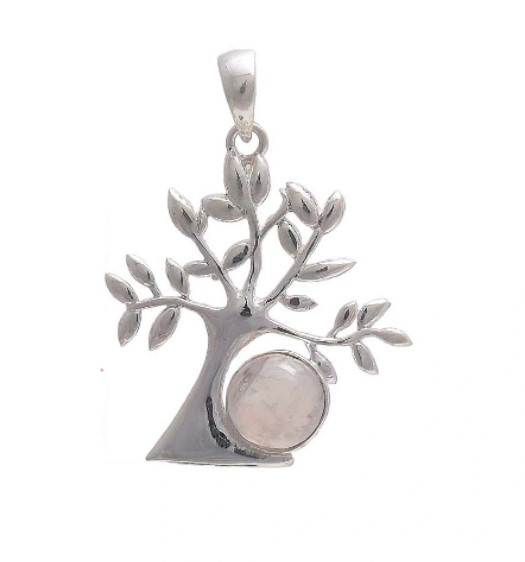 sterling silver tree pendant with rainbow moonstone