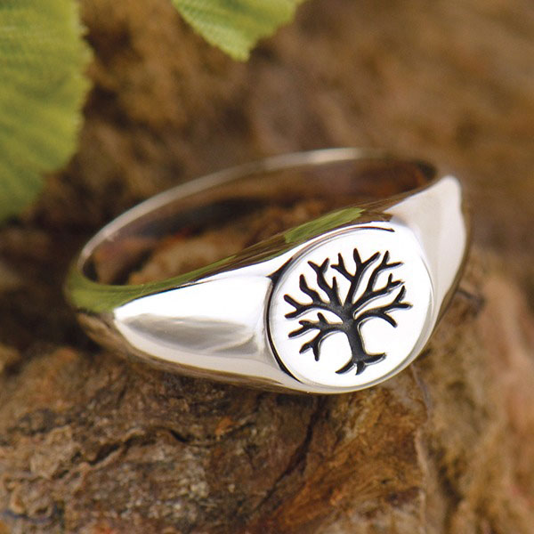 Tree of life sterling silver signet ring
