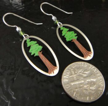 tall tree earrings by Sienna Sky with dime for size