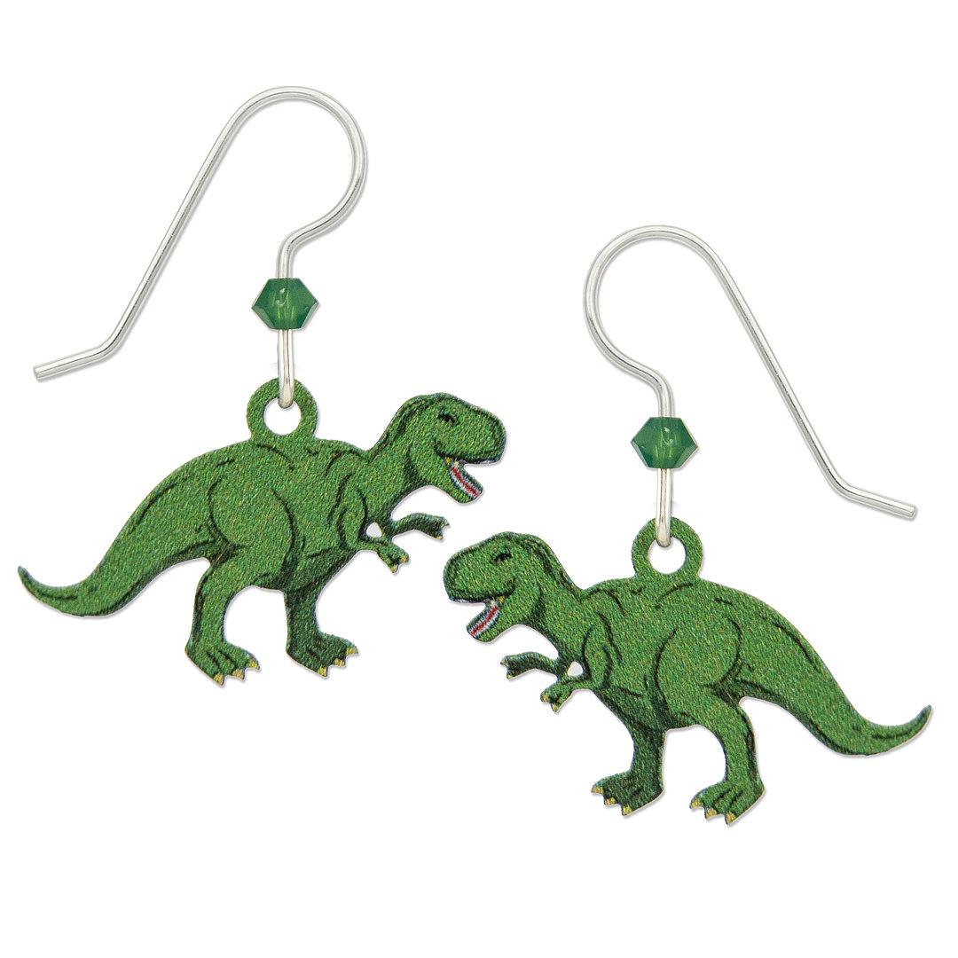 t-rex dinosaur earrings with sterling silver ear-wires