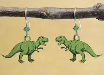 green T. rex dinosaur Sienna Sky earrings