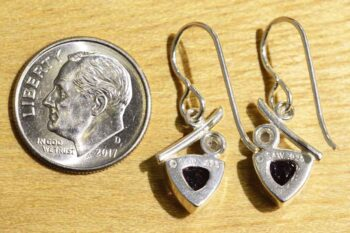 Back of amethyst and freshwater pearl earrings (pictured with dime for scale)