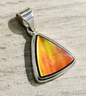 Ammolite and sterling silver triangle pendant