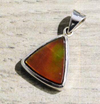 Handmade orange ammolite sterling silver pendant