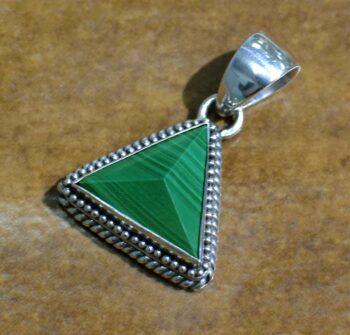green malachite and silver pendant