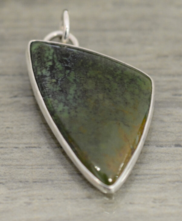 handmade triangular green and brown turquoise pendant by Dale Repp