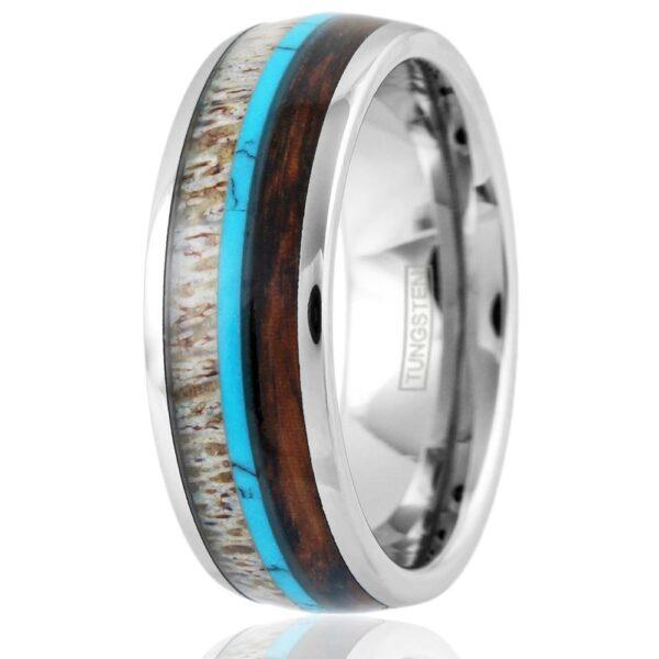 antler, turquoise, koa wood tungsten ring
