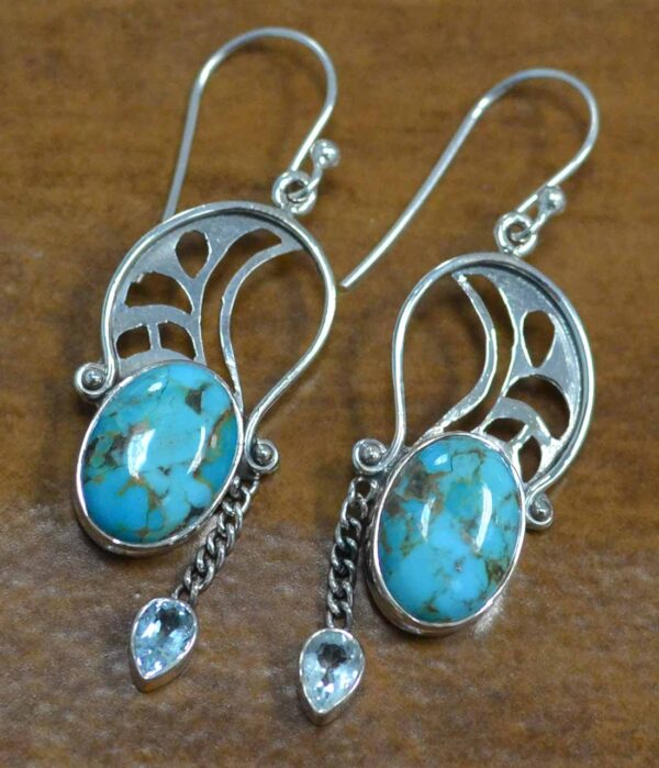 turquoise and blue topaz sterling silver earrings
