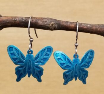 turquoise color metal butterfly earrings
