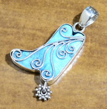 handmade turquoise and sterling silver cowboy boot pendant