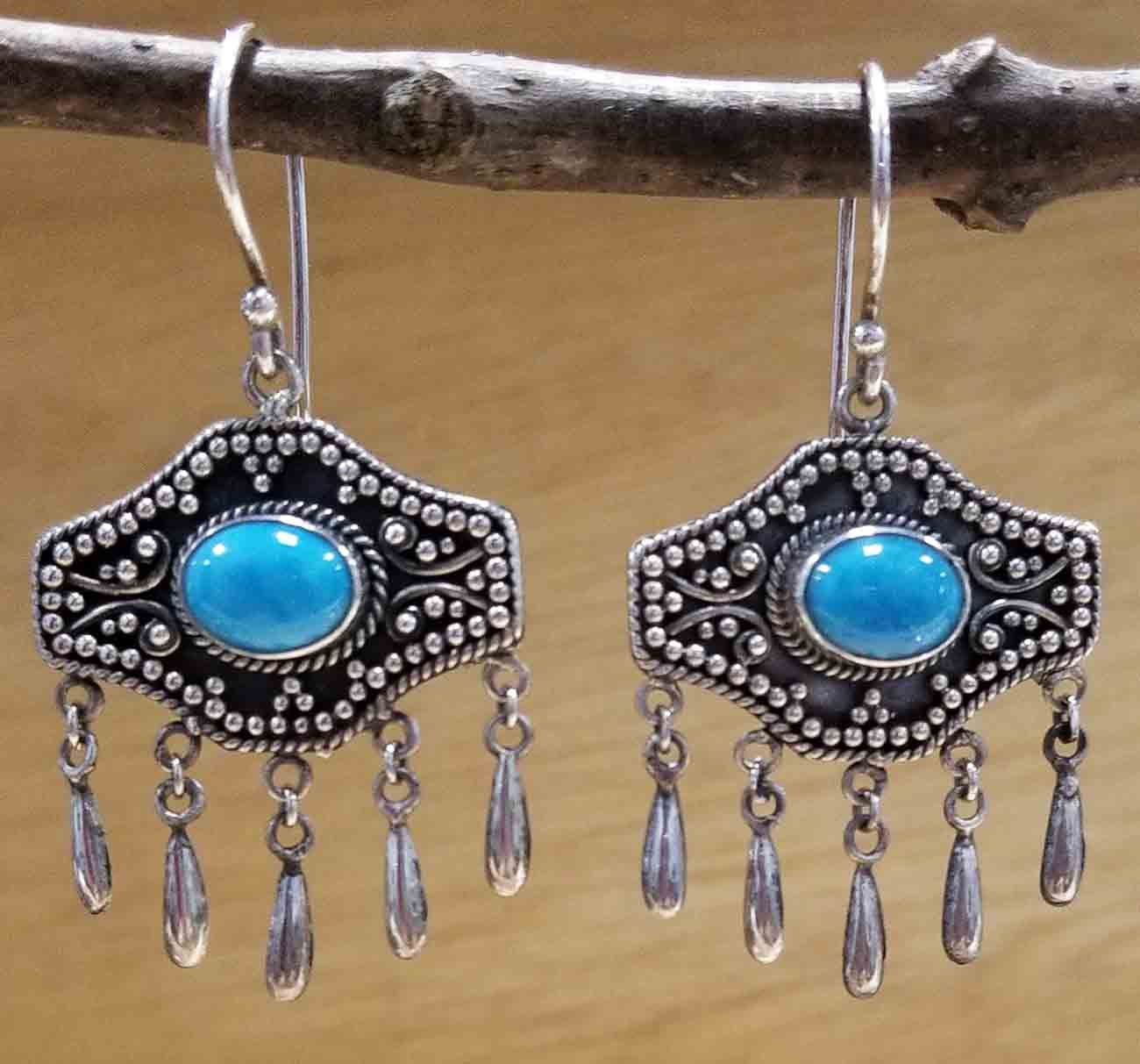 turquoise chandelier sterling silver earrings