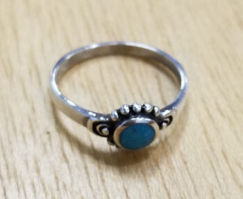 top view of turquoise circle ring
