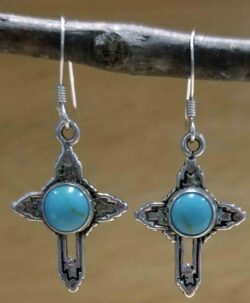 handmade turquoise and sterling silver cross earrings