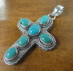 turquoise cross and sterling silver pendant