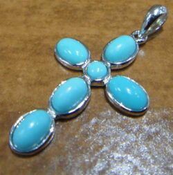 handmade turquoise and sterling silver cross pendant