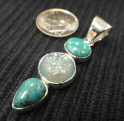 Turquoise and Druzy Sterling Silver pendant