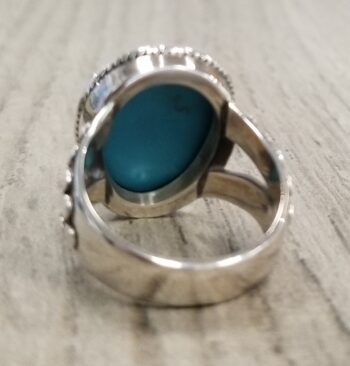 back of turquoise face ring