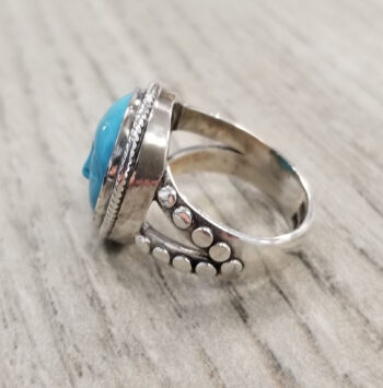 turquoise face ring side view