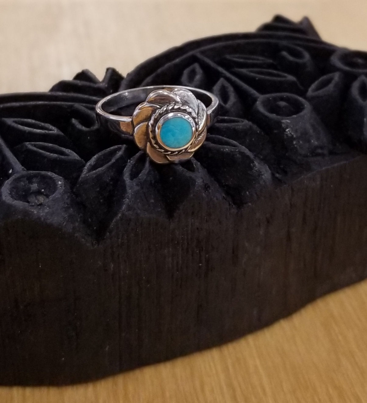 sterling silver flower ring with turquoise center