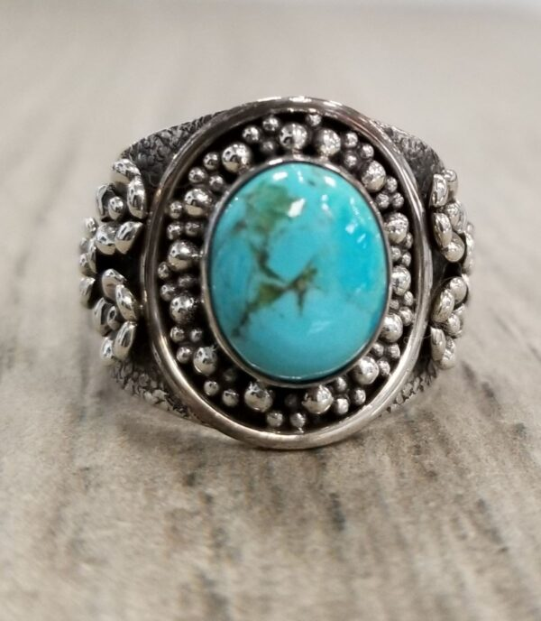 turquoise and sterling silver flower ring