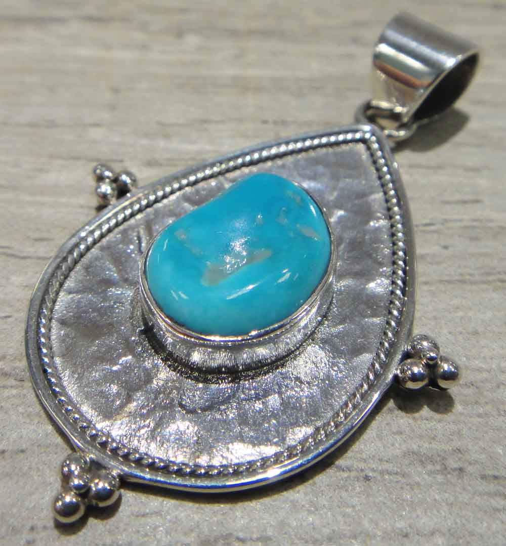 turquoise hand hammered sterling silver pendant