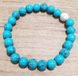 blue synthetic turquoise, white howlite bracelet