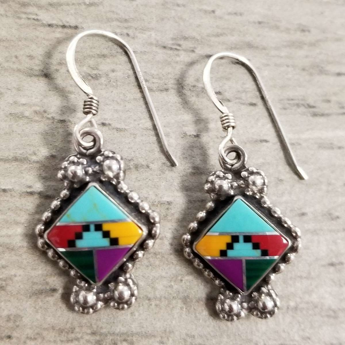 stone inlay earrings