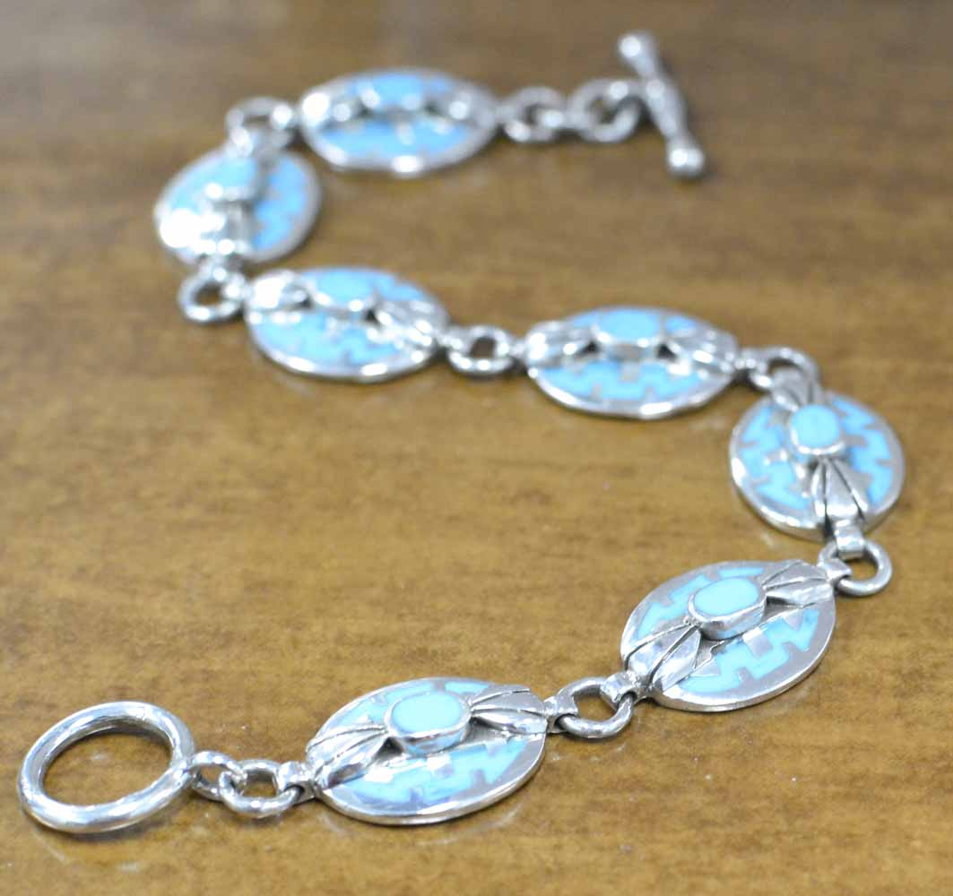 handmade turquoise and sterling silver geometric inlay bracelet