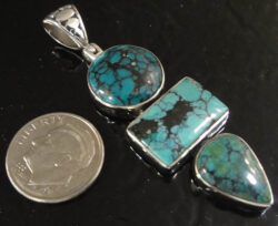 turquoise long three stone pendant in sterling silver