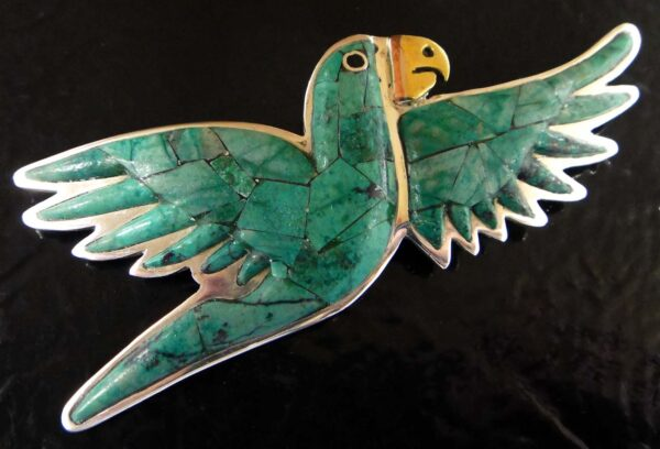 handmade green turquoise and sterling silver parrot pin/pendant