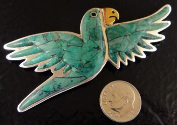 turquoise parrot pendant/pin with dime for size
