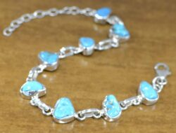 handmade rough turquoise and sterling silver bracelet