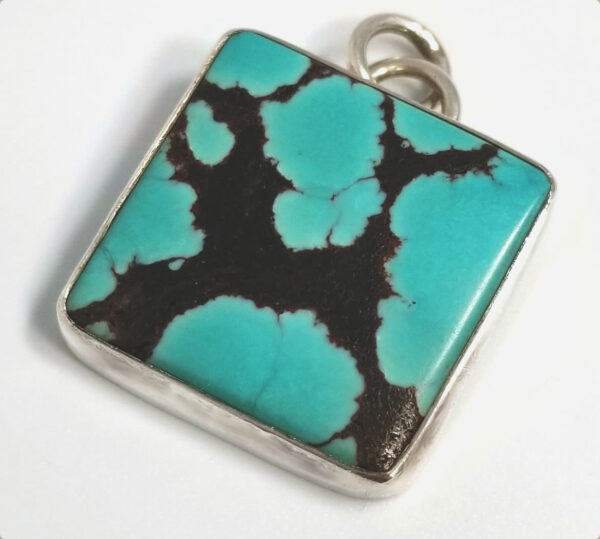 light blue turquoise and sterling silver square pendant