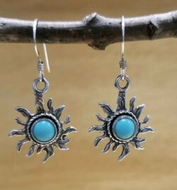 handmade turquoise and sterling silver sun earrings