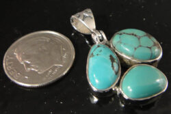 three stone turquoise and sterling silver pendant with dime for size