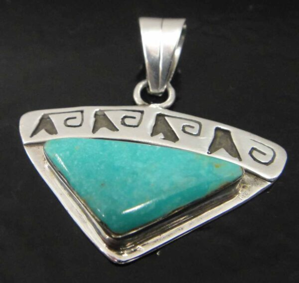Handmade teal turquoise and sterling silver triangle shaped pendant