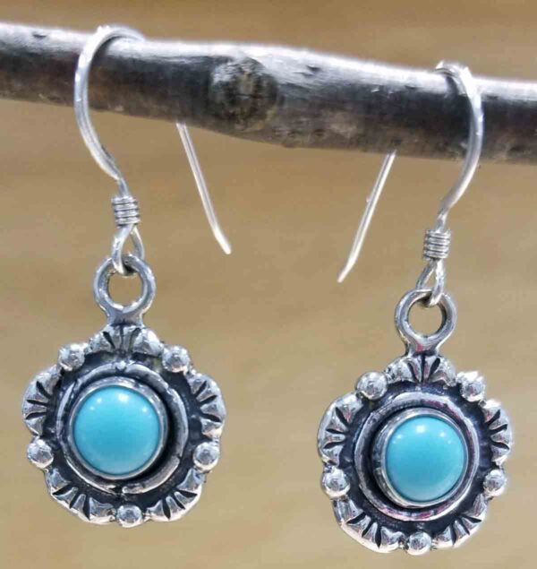 handmade western style turquoise and sterling silver earrings