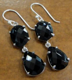 Handmade faceted black spinel and sterling silver dangle earrings